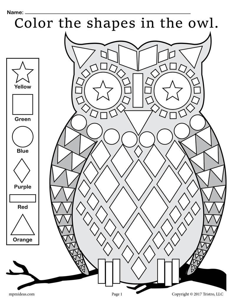 Fall Themed Owl Shapes Worksheet & Coloring Page Shapes