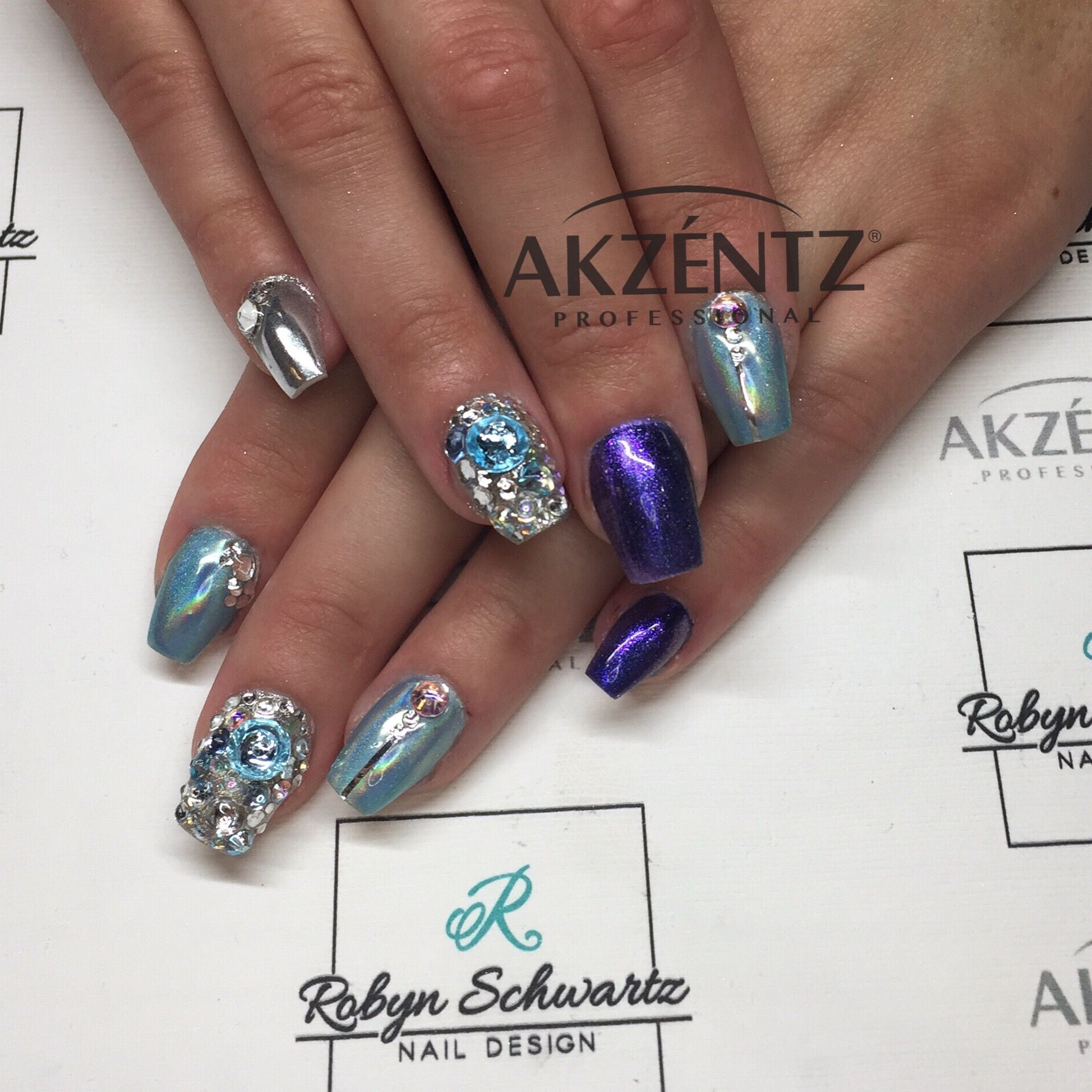 Chromes and Swarovski stones on coffin gel nails | Blingy Nails ...