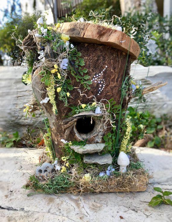 Yellow Fairy House, Butterfly Fairy House, Birdhouse Fairy