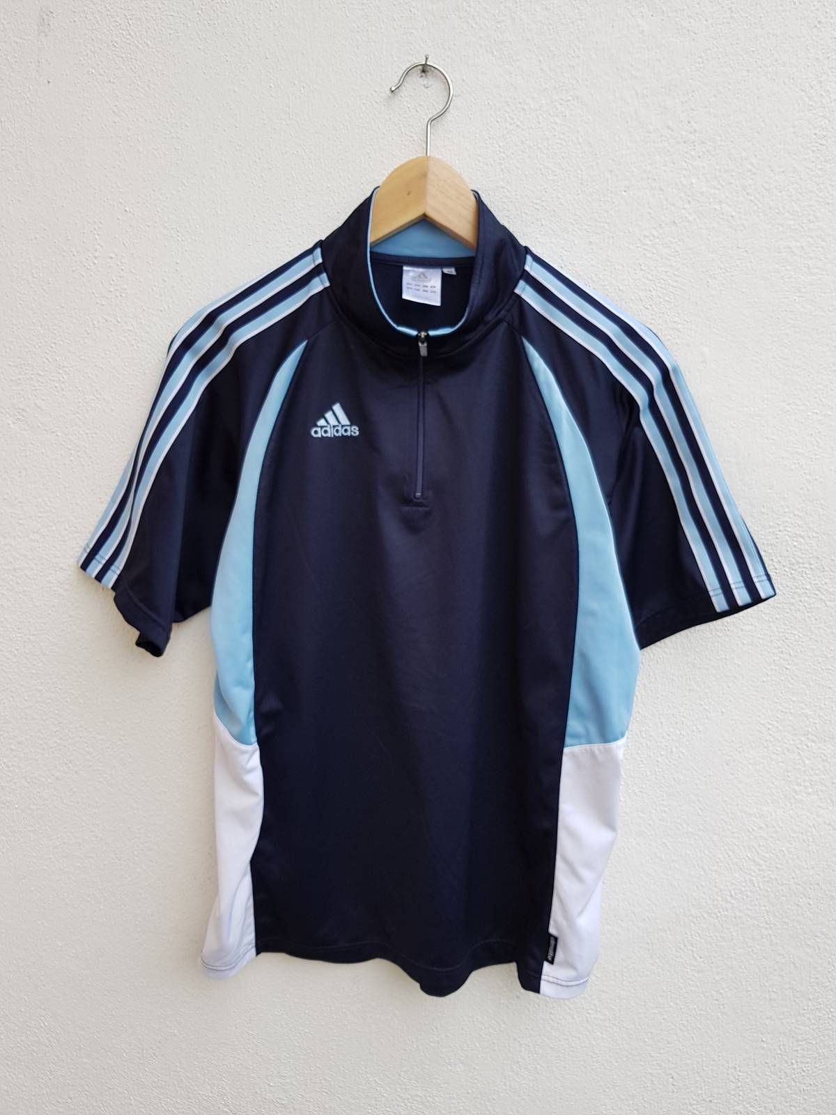 Adidas Vintage 90s Adidas 3 Stripes Sleeve Embroidered Monogram Color Block Zip Polos Jersey Shirt Size M Vintage Adidas Striped Sleeve Adidas Tops [ 1600 x 1200 Pixel ]