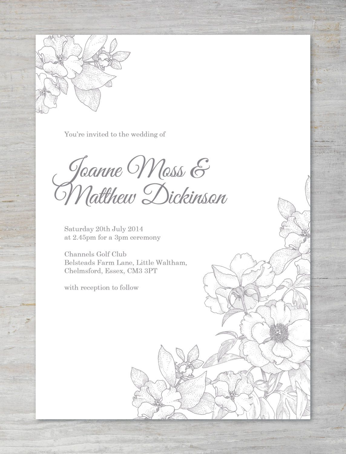 Traditional Botanical floral Printable DIY Wedding Invitation. Printed versions are available.