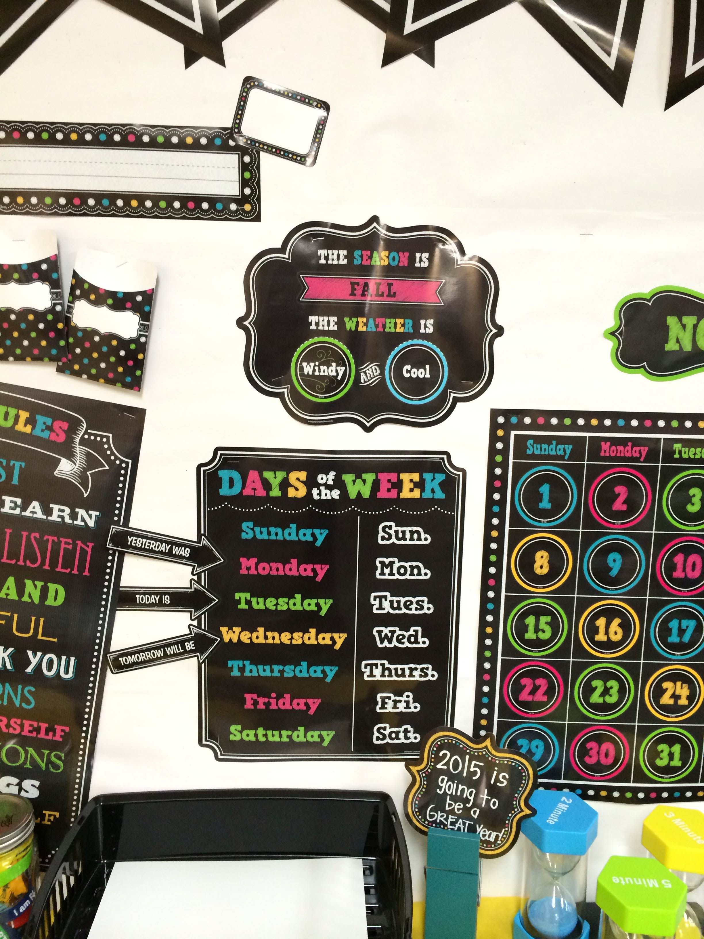 Chalkboard Brights Calendar Bulletin Board Display Set ...