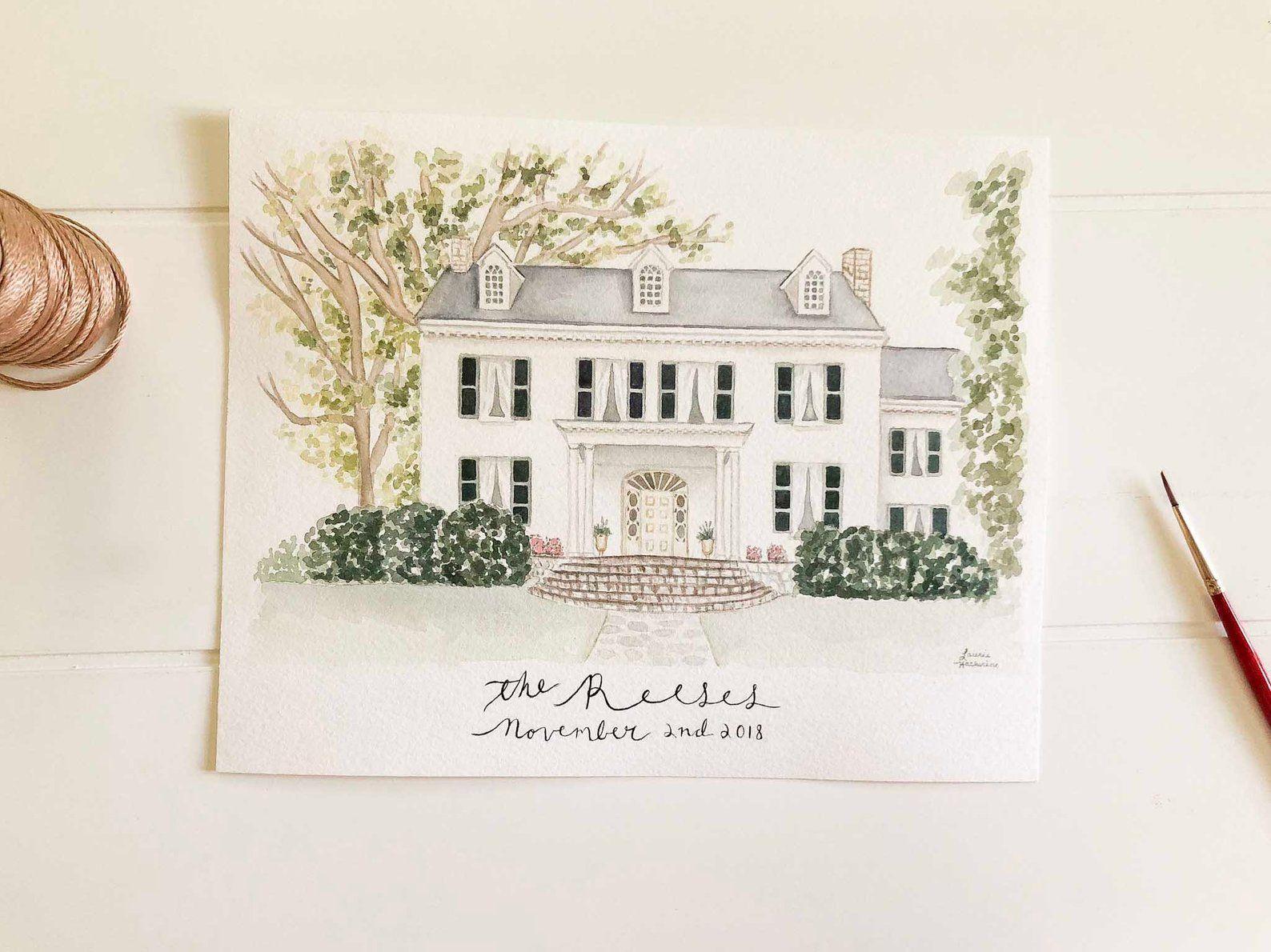 Custom Watercolor Wedding Venue In 2020 Watercolor Wedding