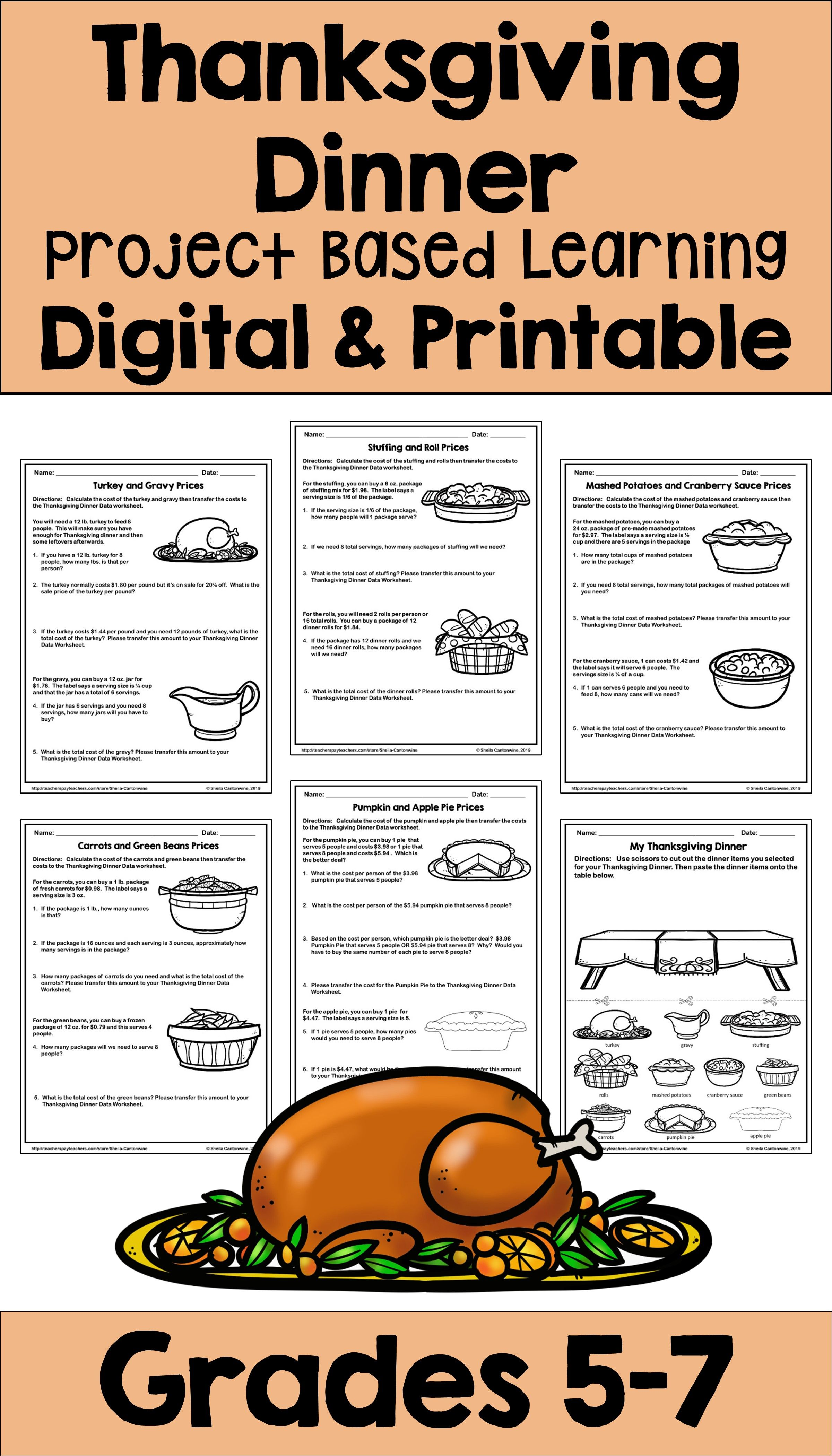 Thanksgiving Dinner Project Based Learning Pbl With Digital And Printable Options Project Based Learning Differentiation Math Fun Math Projects [ 4200 x 2400 Pixel ]