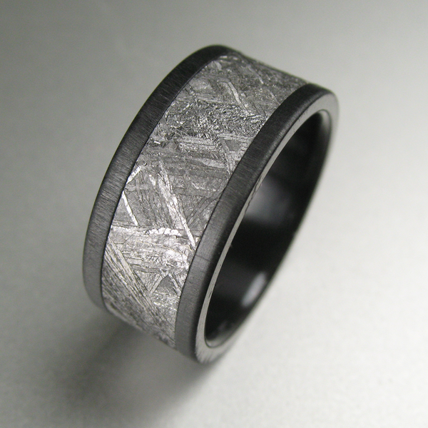 Black Zirconium Meteorite Distressed Wedding Band My Wedding