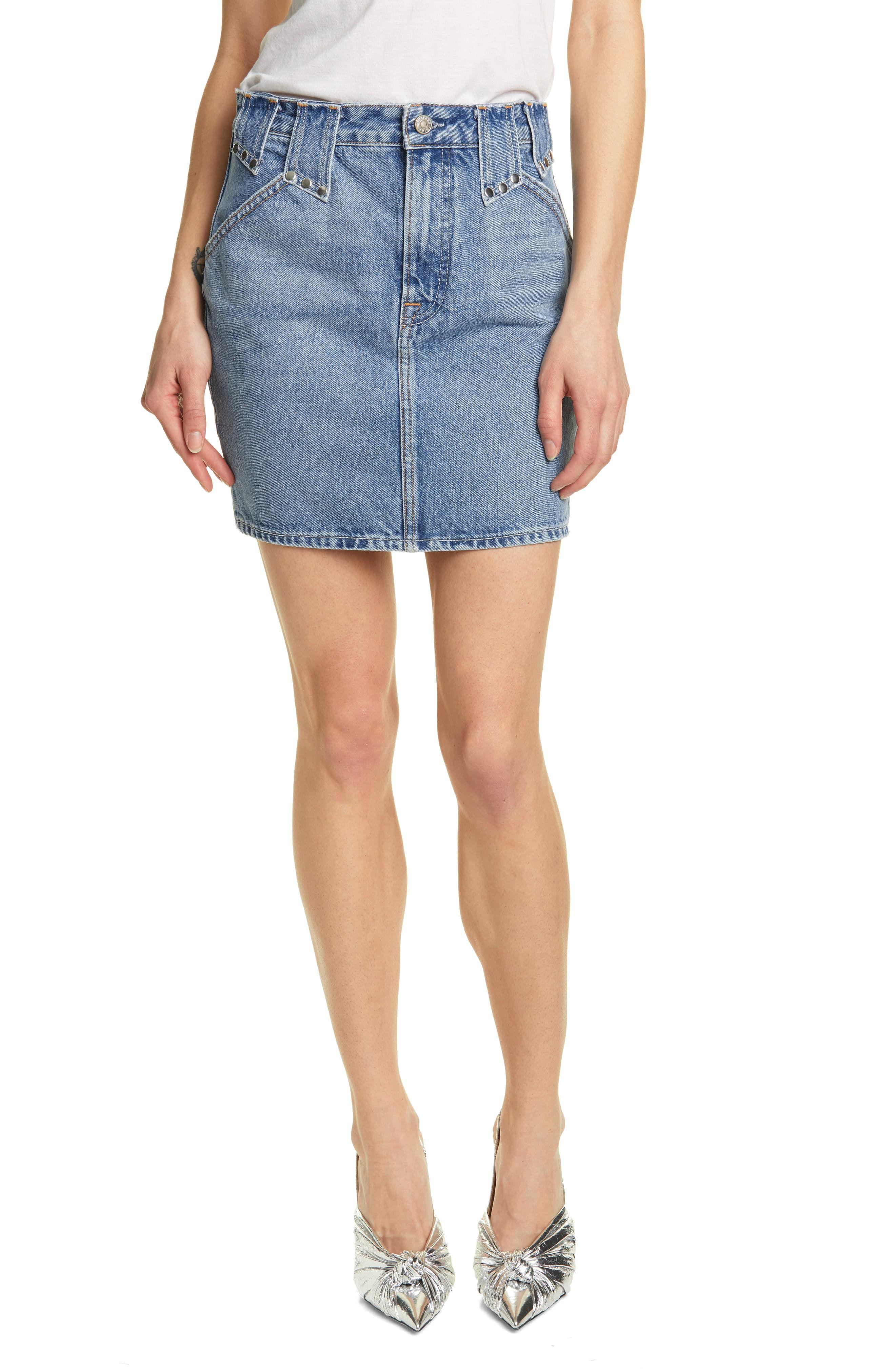 20e3a91db7 Women's Grlfrnd Sora High Waist Denim Miniskirt, Size 24 - Blue in ...
