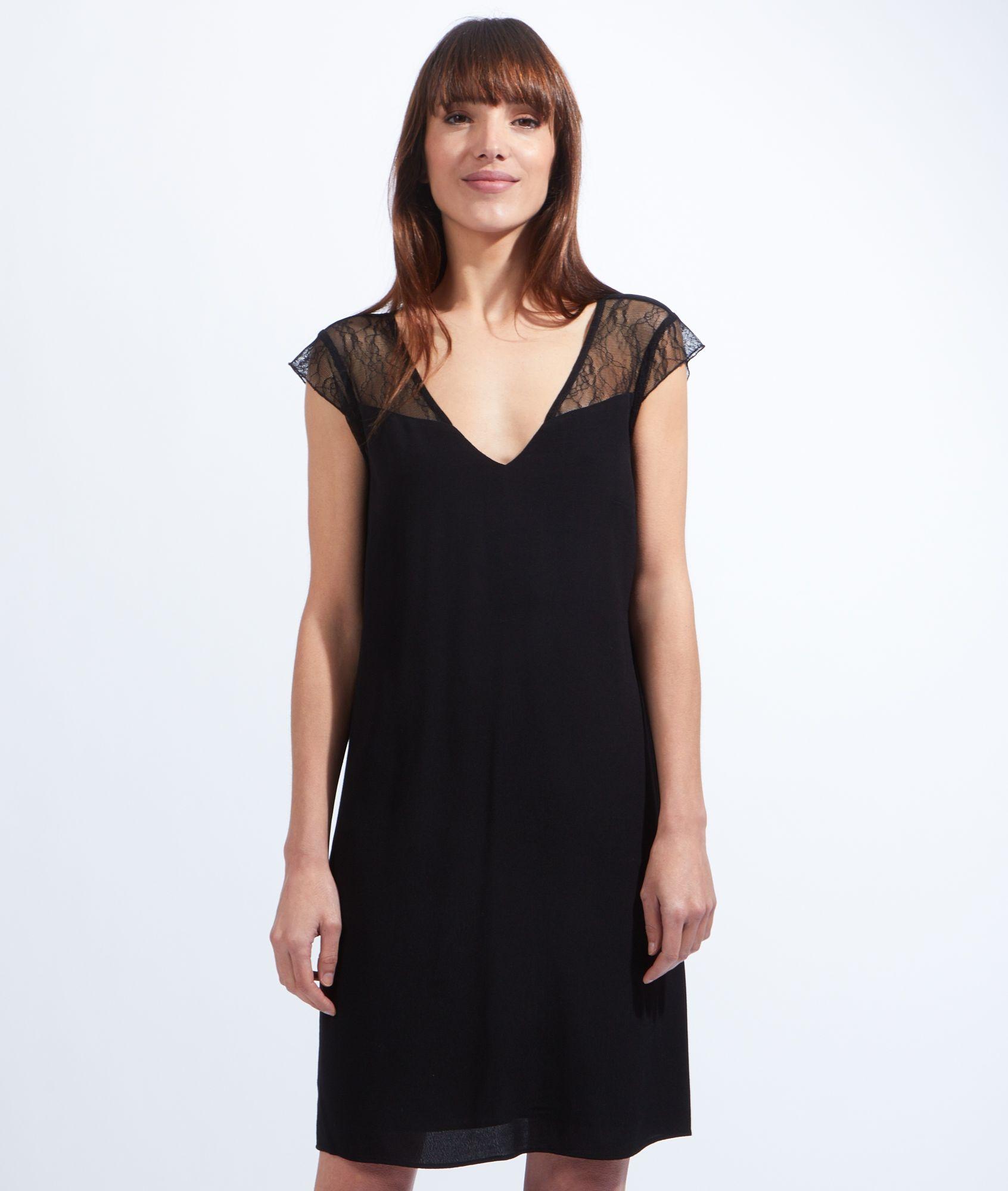 etam robe dentelle noire