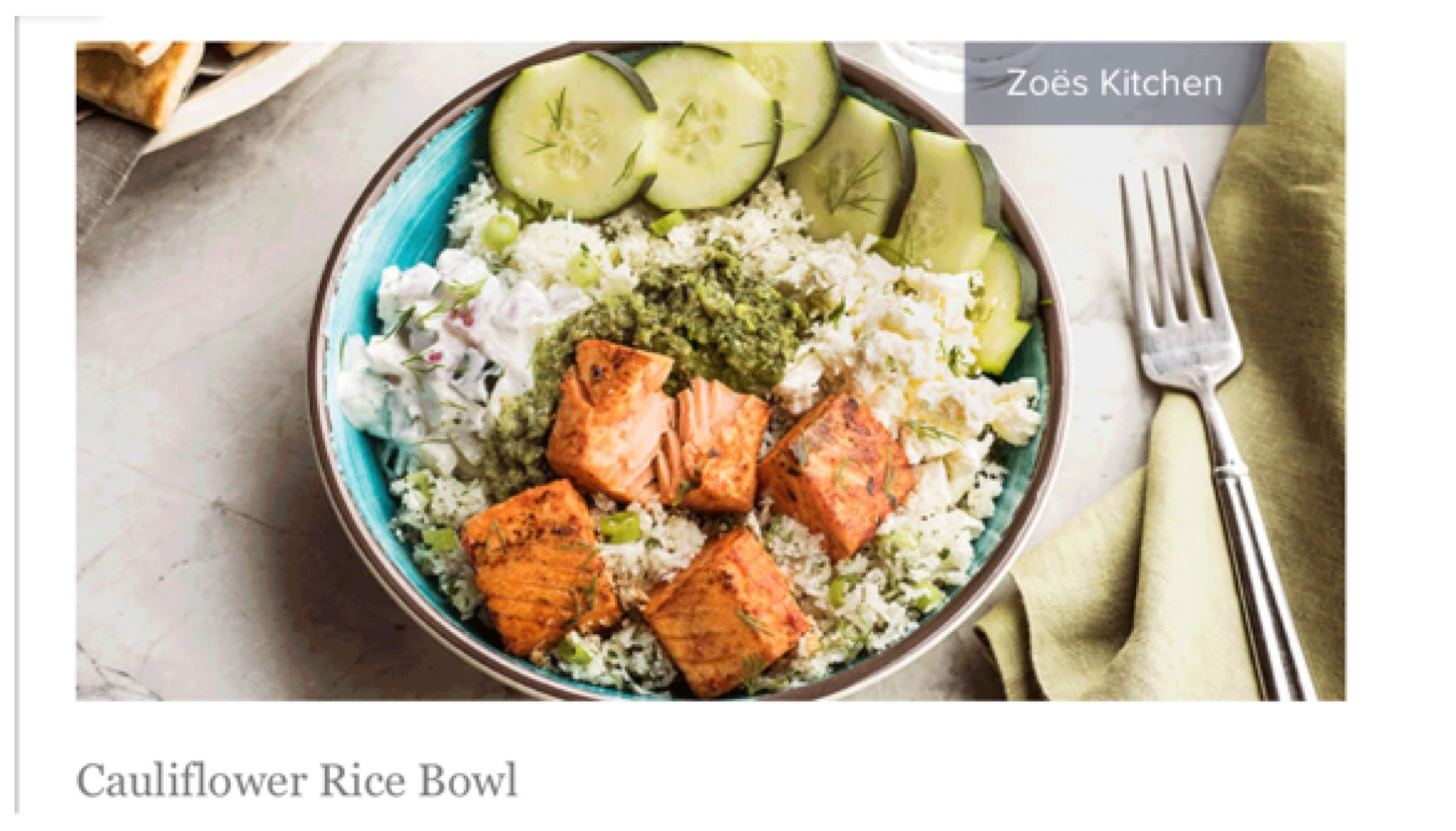 Cauliflower Rice Bowl Can Order With Salmon Chicken Beef