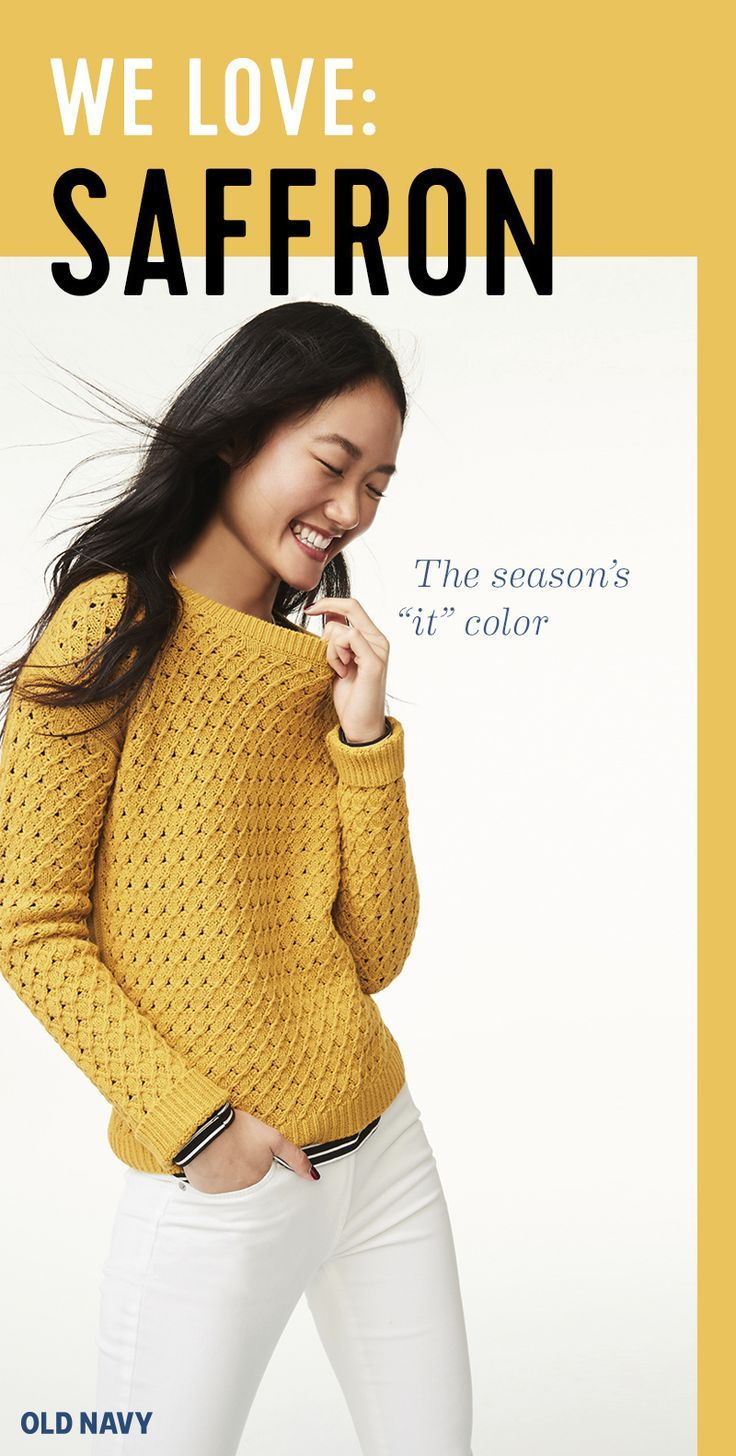 Saffron yellow brings warmth to every skin tone and feels perfect for fall (without being too obvious). Scoop it up in a textural pullover and reach for winter white Rockstar denim. And if you have questions about footwear, we'd go for a low-heeled, sueded bootie with Western flare. #womenscardigan #womensouterwear #womensjacket