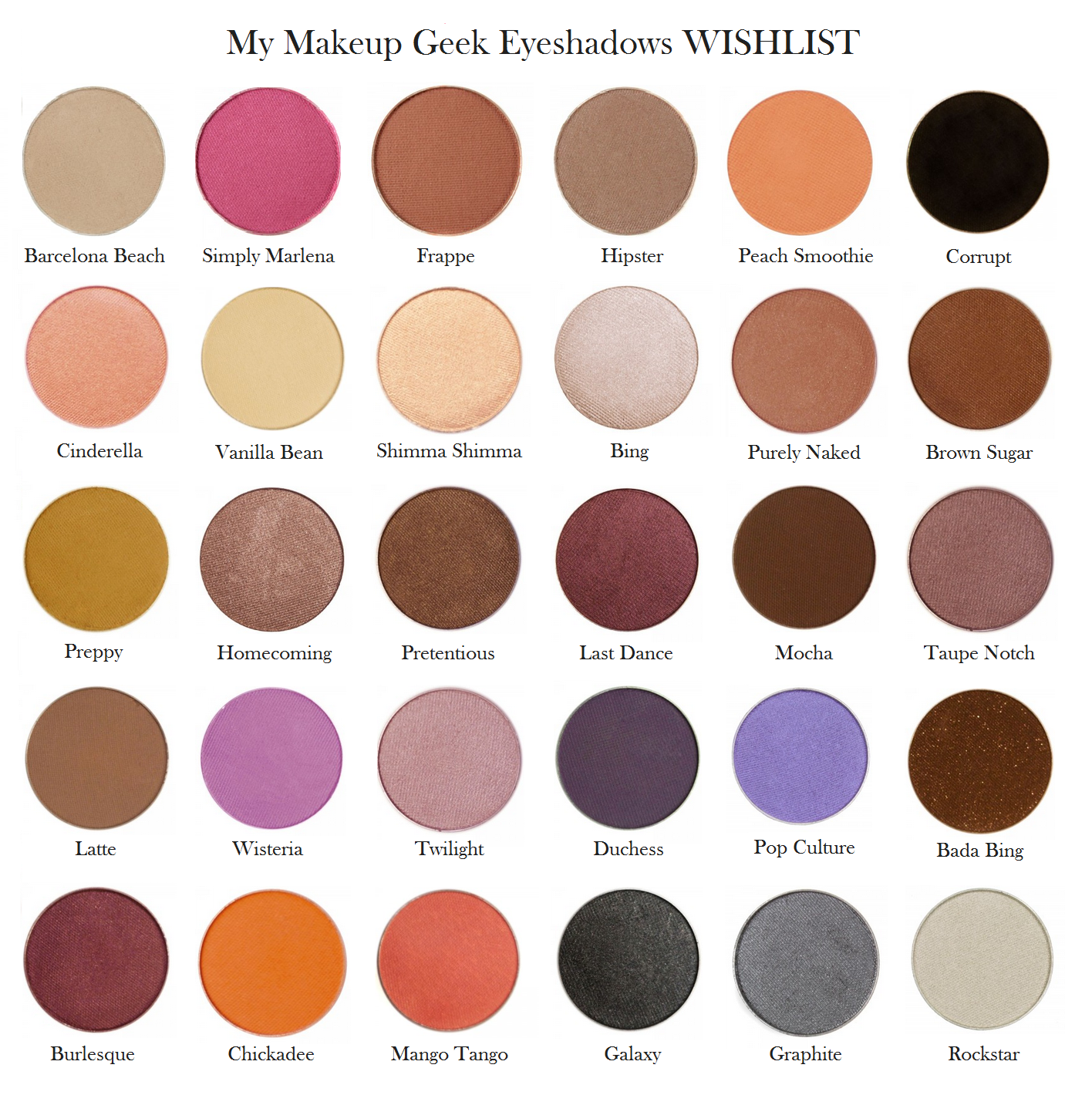My makeupgeek eyeshadow wishlist ... I already have 9 and 30 to go .. Plus the pigments! Love @Makeup Geek