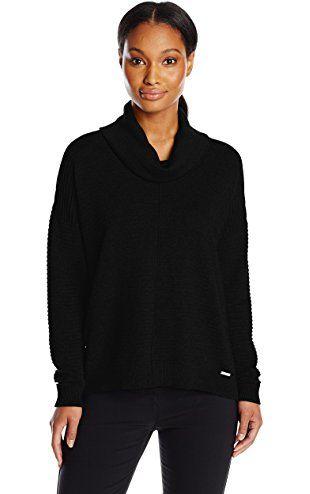 Calvin Klein Women's Ribbed Cowl Neck Sweater, Black, Small ❤ Calvin Klein Women's Collection