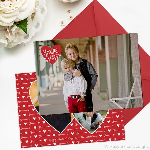 Valentine S Day Card Template For Photographers Photoshop Card Templates Valentine S Valentines Day Card Templates Photo Card Template Holiday Templates