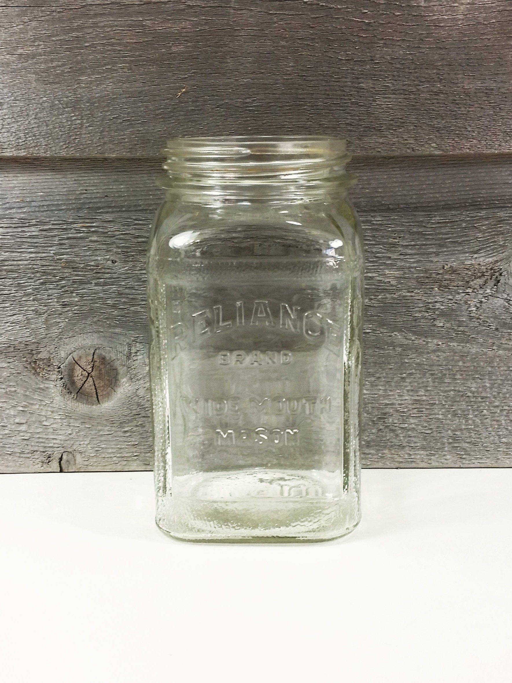 Vintage Seattle Coffee Reliance Mason Jar Square Heavy Glass