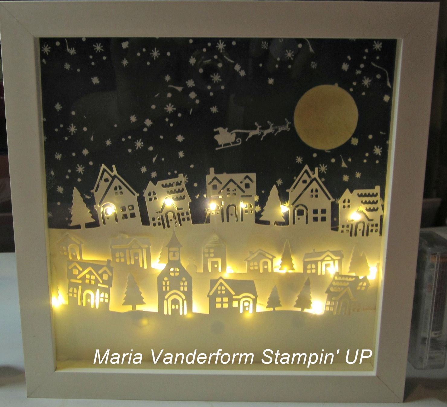 This Lighted Shadow Frame Box Featuring The Hearts Come Home Bundle And Created B Christmas Shadow Boxes Stamped Christmas Cards Handmade Christmas Decorations