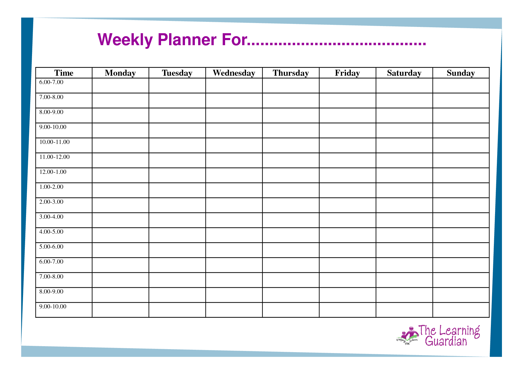 Time Planner Template. Free Weekly Schedule Templates for Word ...