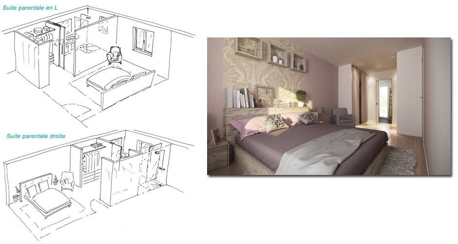 Superb Amenagement Chambre Parentale Avec Salle Bain #12: Modele Suite Parentale Avec Dressing Et Salle De Bain ...