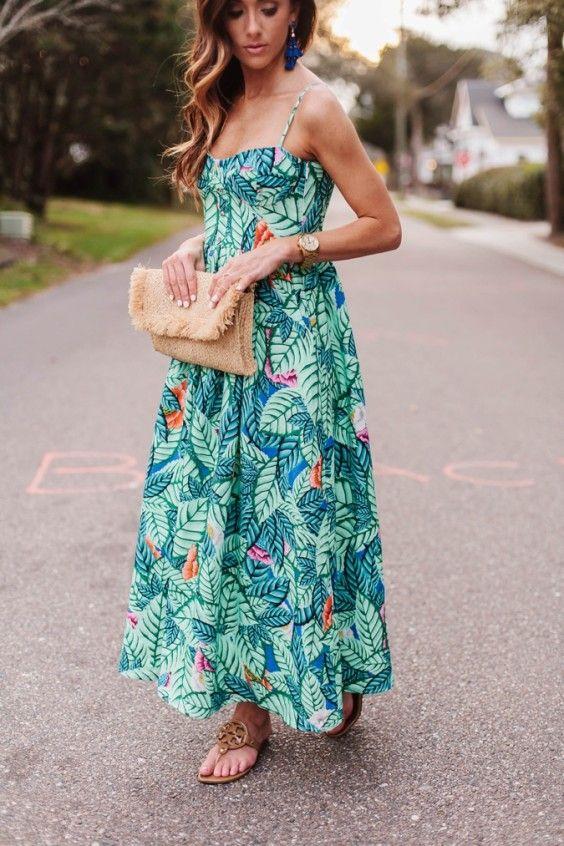 eac04b7348de5 maxi dress, sequins and things, mara hoffman, linen leaf bustier dress,  bustier dress, printed dress, spring dress, spring style, baublebar  statement ...