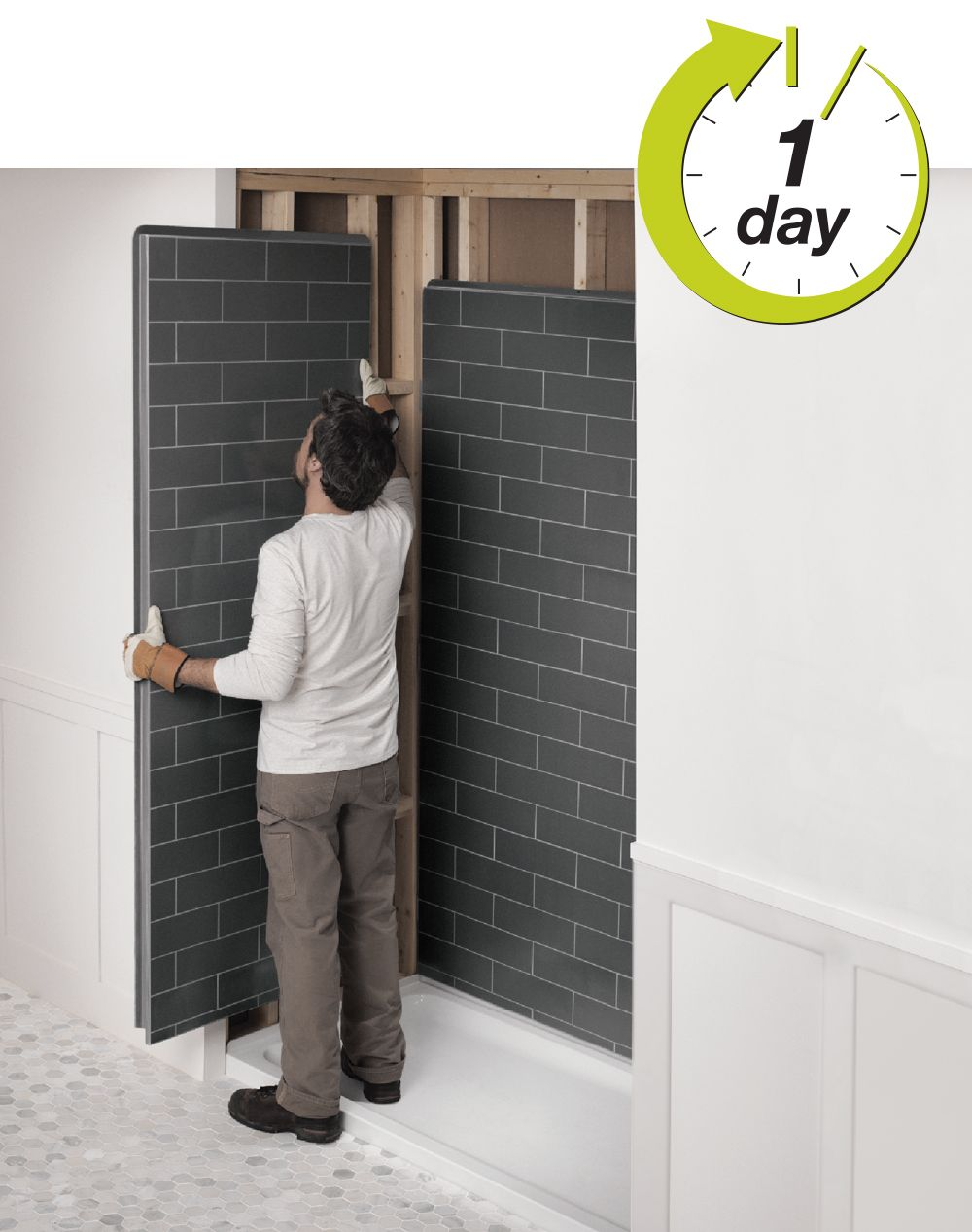 Revolutionary Shower Bathroom Remodel Look Like Tiles By Maax Shower Wall Panels Shower Wall Plastic Shower Wall Panels