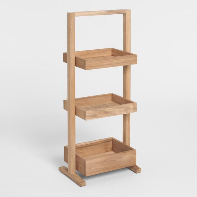 Teak Wood 3 Tier Teigan Storage Caddy Teak Wood Storage Caddy Natural Teak Wood