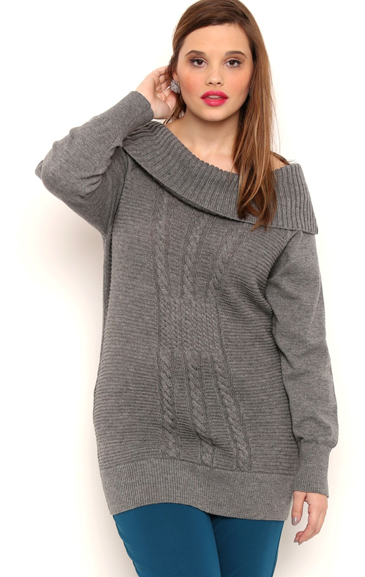 Plus Size Long Sleeve Cable Knit Tunic Sweater with Marilyn ...