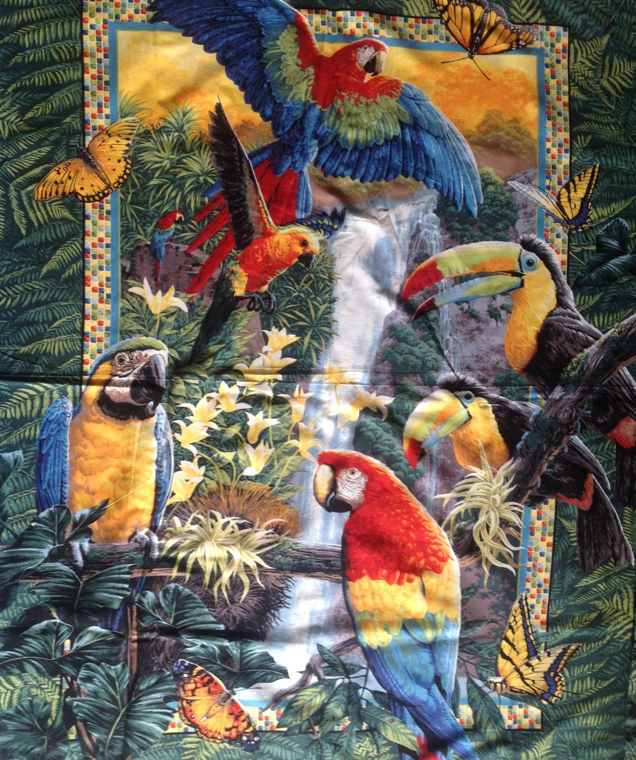 Parrot Toucan Jungle Bird Quilt Top Panel 35 X 44 Bird Quilt