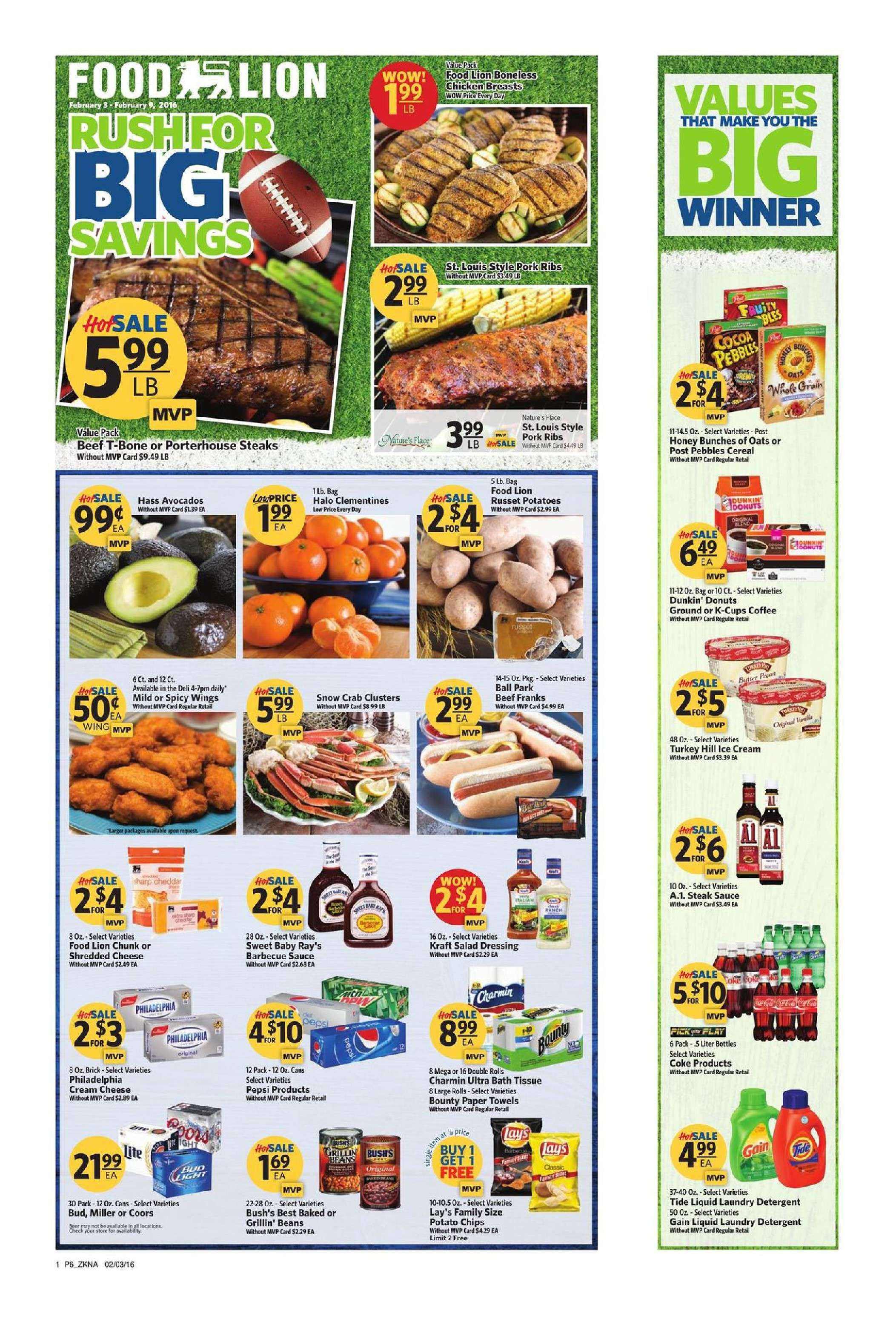 food lion sales paper Grocery 14 items health & beauty 29 items meat 18 items produce 12 items  6 huge or 12 large bounty paper towels mvp $1199 ea w/ mfr discount savings select varieties pampers super pack diapers or training pants mvp $2199 ea w/ mfr  food lion bone-in chicken breast mvp $099 lb.