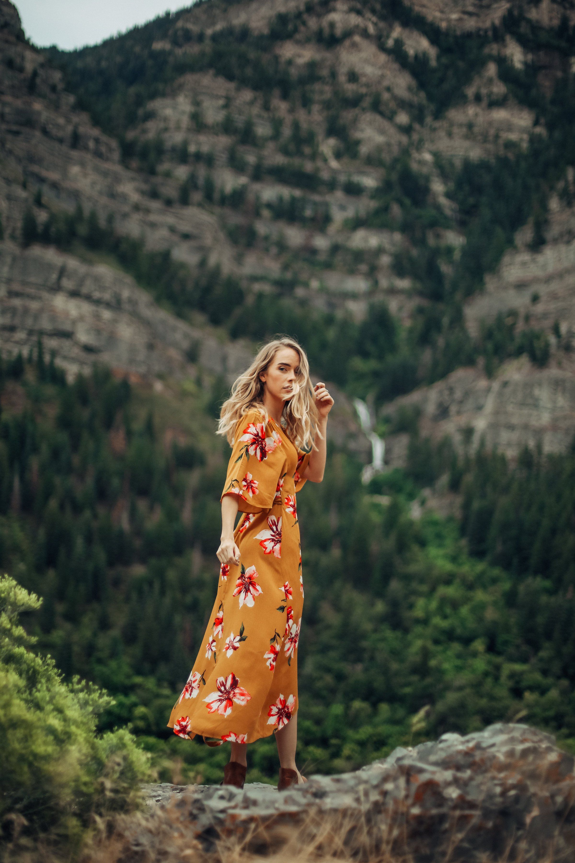 The Eliza Floral Wrap Dress in Mustard
