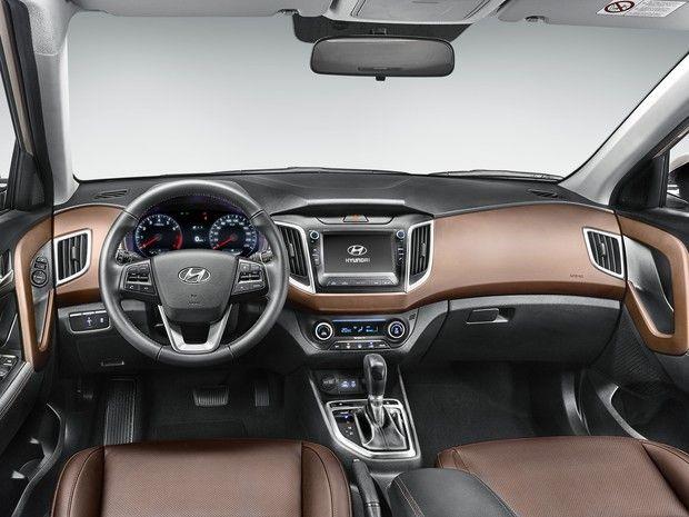 Interior Do Hyundai Creta Topo De Linha Tem Bancos De Couro Marrom Foto Divulgacao Hyundai New Suv Sport Suv