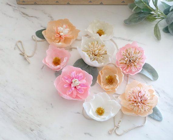 Flower garland handmade crepe paper flowers boho nursery decor flower garland handmade crepe paper flowers boho nursery decor birthday mightylinksfo