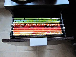 Fabric Filing System:  keeps it ironed and wrinkle free, file by color, designer etc., out of the sunlight!!
