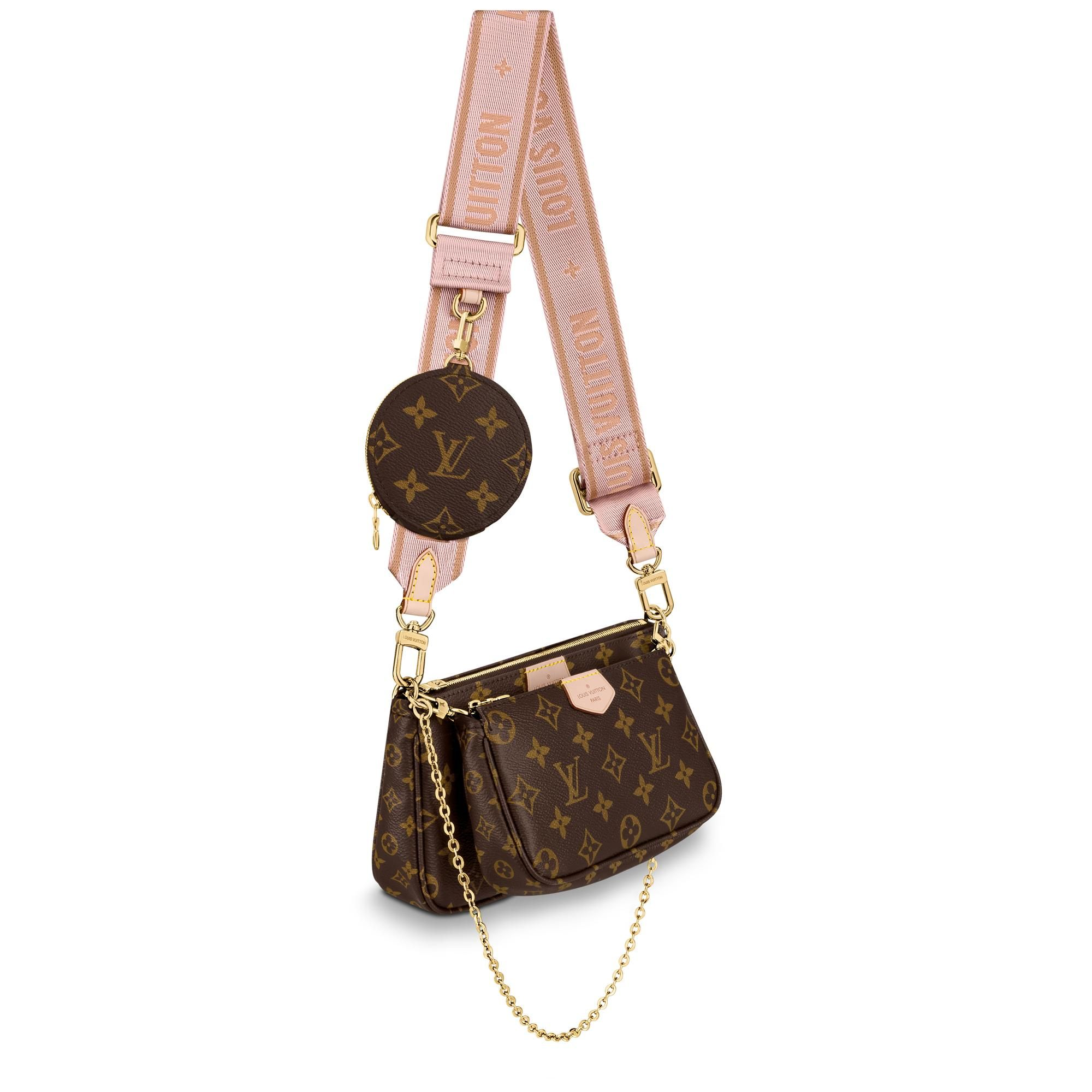 The multi pochette accessoires is a hybrid cross-body bag with multiple pockets and compartments that brings together a pochette accessoires, a mini pochette accessoires and a round coin purse. Fashioned from monogram canvas with a mini monogram pattern on the sides of the two pochettes, it has both a removable gold-tone chain and an adjustable louis vuitton inscribed jacquard strap for multiple carrying options.