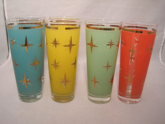 Set of 6 six 1950's glasses with gold star by MyRedFlamingo, $35.99