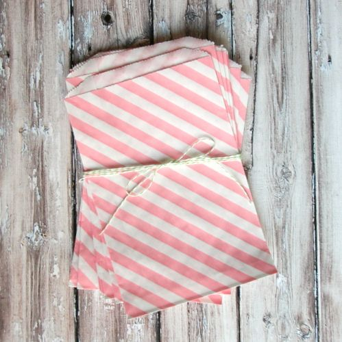 pink striped favor bags