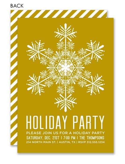 Gold Snowflake Snowflake invitations, Holiday party invitations - holiday party invitation