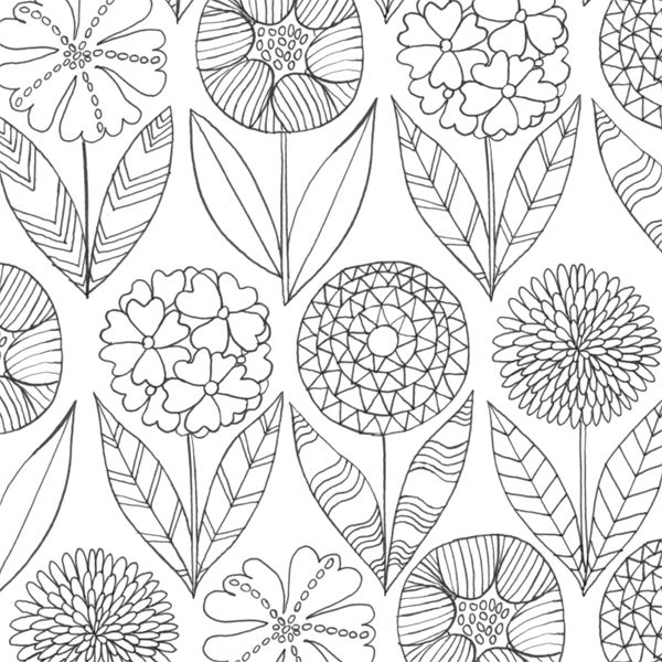 Pretty Flowers From The Mindfulness Colouring Book Anti