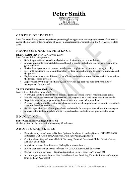 Loan Officer Resume Example Pinterest Resume examples and Sample - bank loan officer sample resume