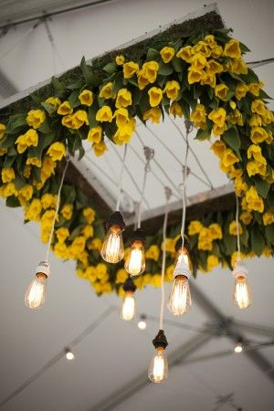 Yellow Tulip Chandeliers with Lights | Photography by www.millieholloman.com/