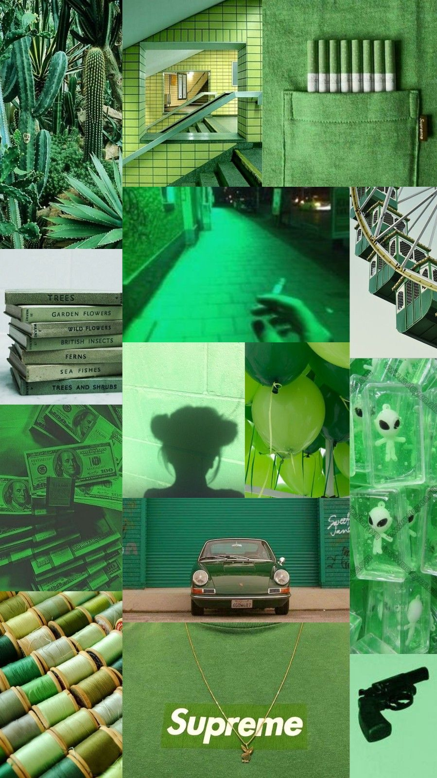 Wallpaper Background Collage Aesthetic Music Color Green