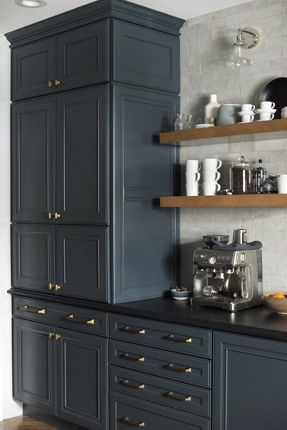 Moody Blue Cabinets And Black Counter Blue Kitchen Cabinets Kitchen Remodel Kitchen Interior