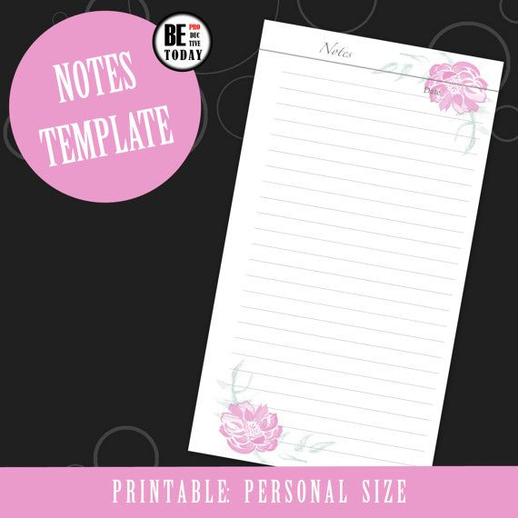 Planner Inserts PERSONAL Size Notes Planner Pages, Flower - meeting notes template