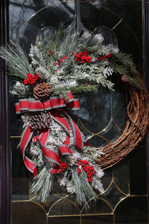 Winter Wreath Valentine S Wreath Farmhouse Winter Door Wreath Rustic Snowy Door Decor Front Doo In 2020 Valentine Day Wreaths Winter Door Decorations Winter Wreath