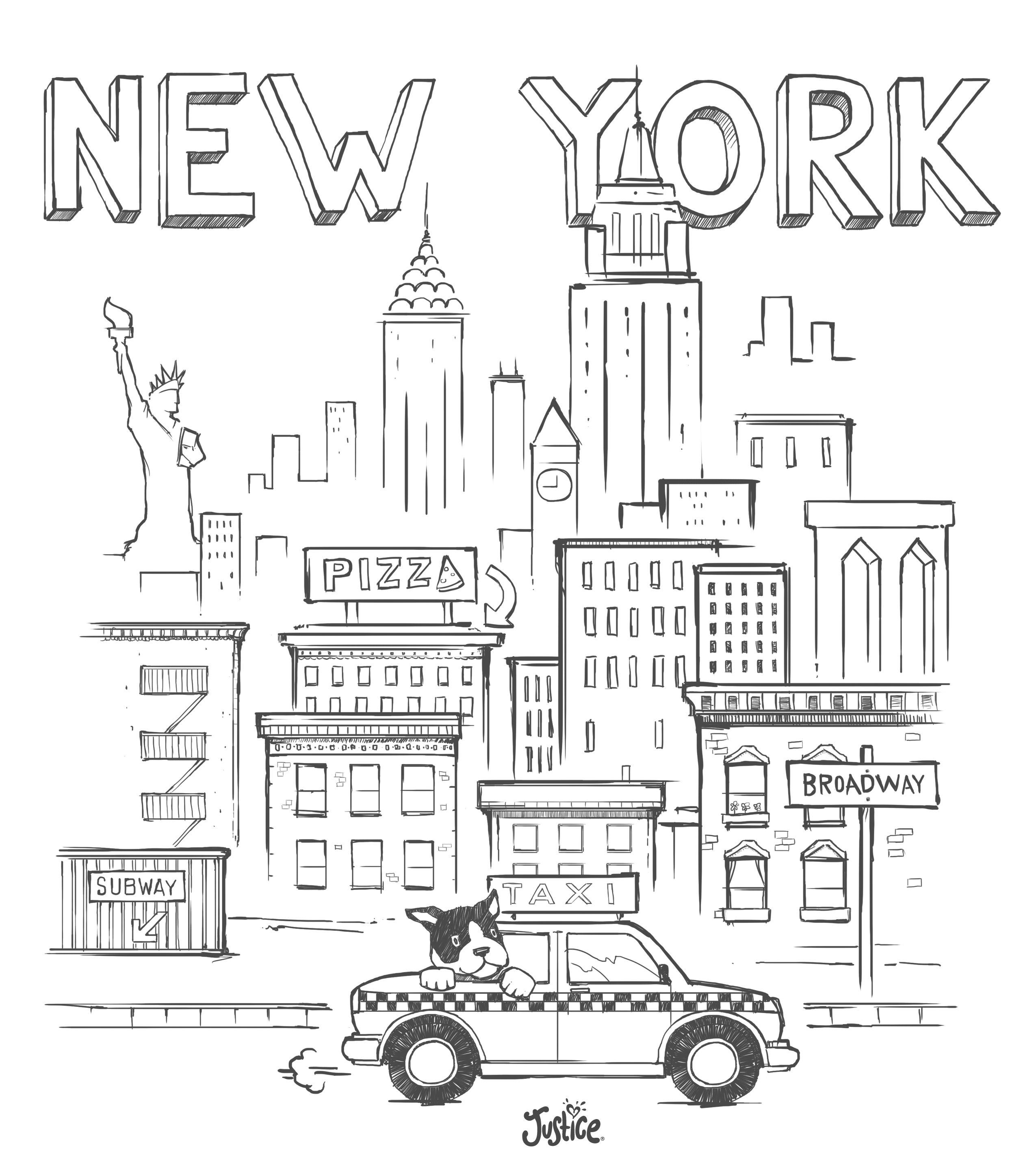 New York City Skyline Pencil Drawing Sketch Coloring Page