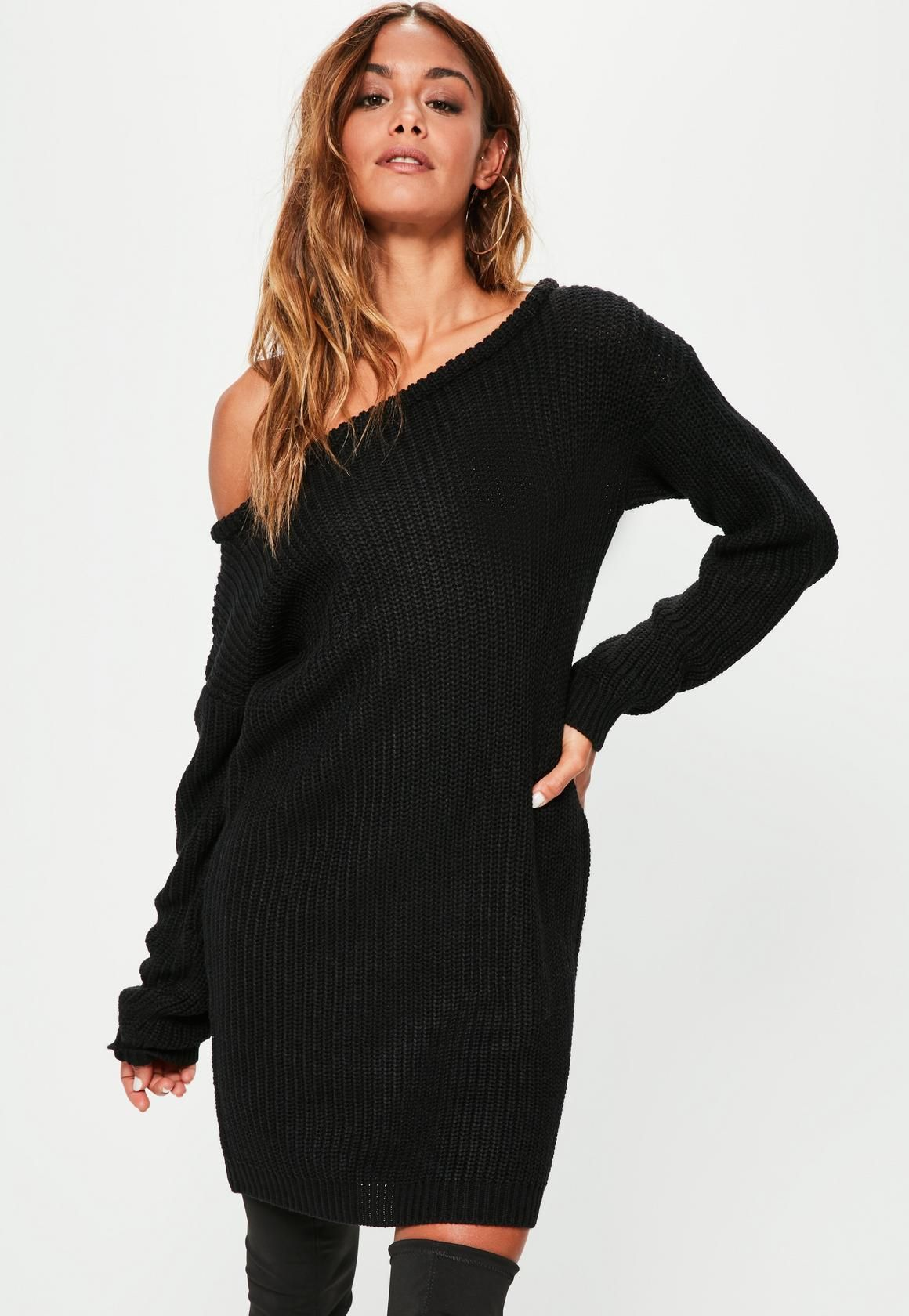 f33c90e34 Missguided - Black Off Shoulder Knitted Sweater Dress