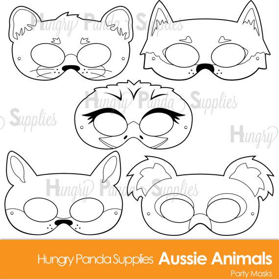 australian animals printable coloring masks aussie animal koala mask kangaroo mask dingo. Black Bedroom Furniture Sets. Home Design Ideas