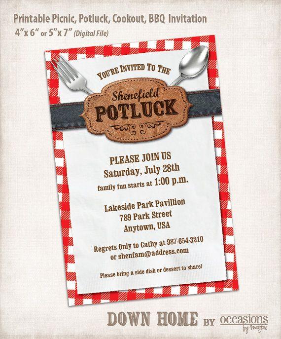Printable Picnic, Potluck, Cookout, BBQ Invitation, Digital File