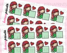 A192 | SPARKLING RED Mermaid Blanks Repositionable Stickers Perfect for Erin Condren Life Planner, Filofax, Plum Paper scrapbooking
