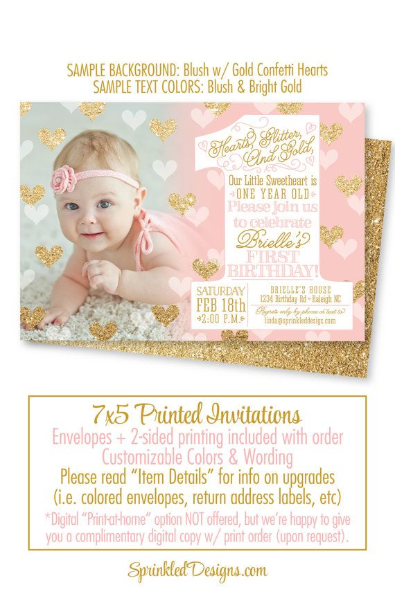 Our Little Sweetheart 1st Birthday Invitation - One Year Old, 1st ...