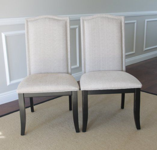 Set Of 2 Upholstered Beige Fabric Dining Chairs