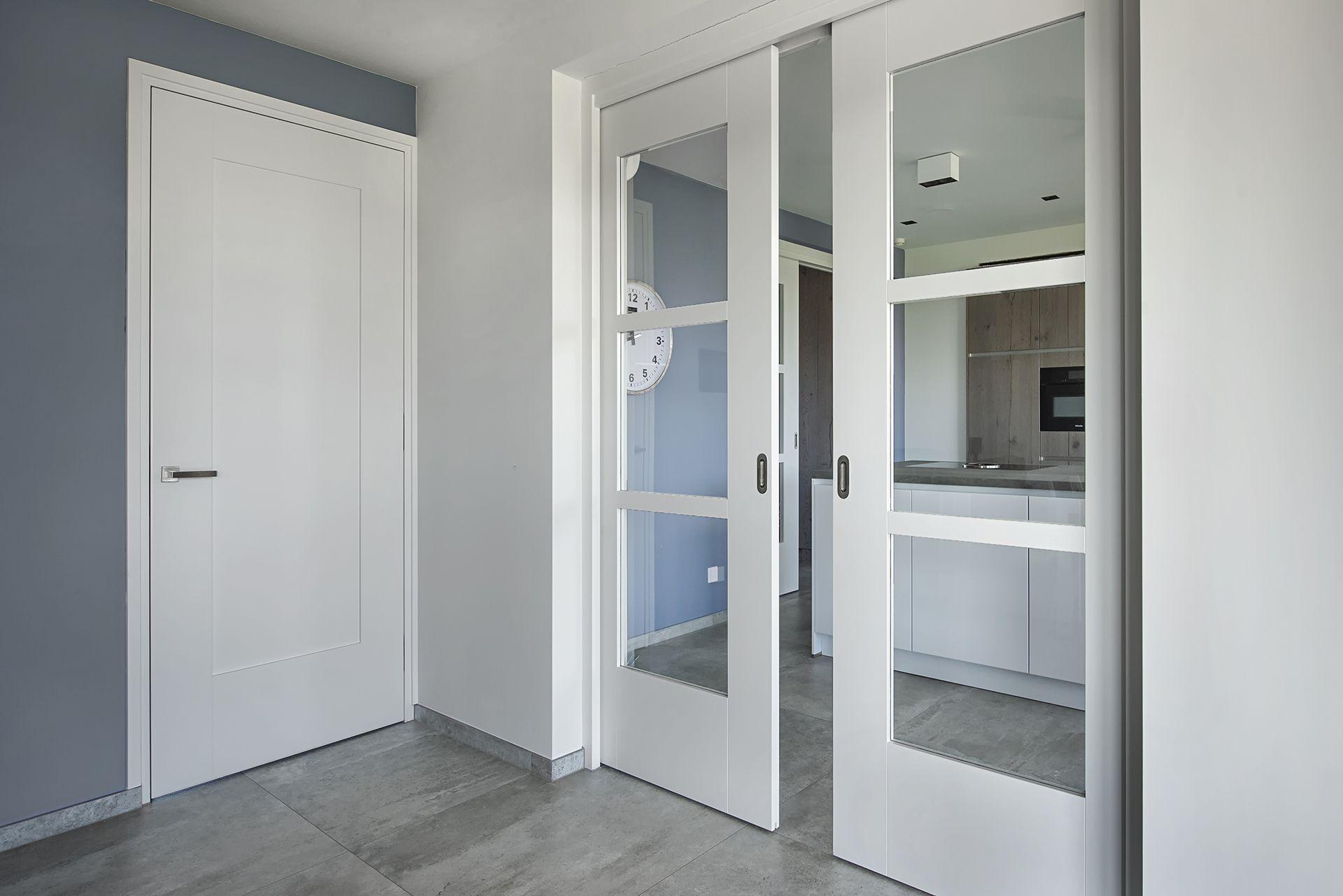 Houtz moderne deuren stalen scharnierdeur met vlakken en