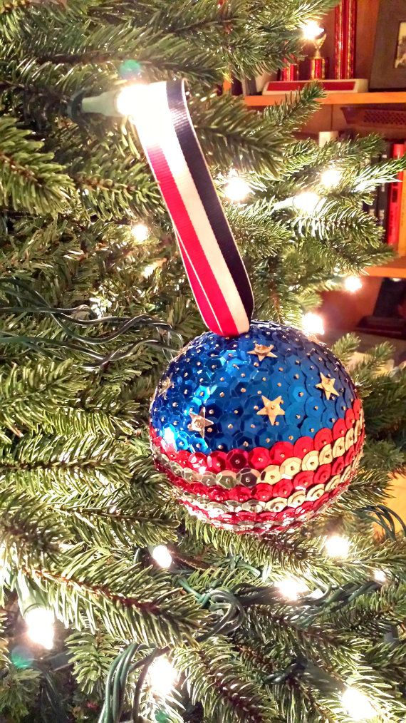 Handmade, flag ornament Sequined red, white, and blue Christmas